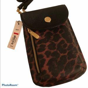Crossbody leopard wallet NWT